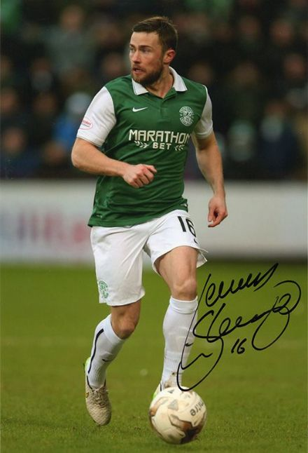 Lewis Stevenson, Hibernian, signed 12x8 inch photo.